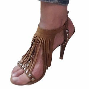 Guess Studded & Fringed Suede Stiletto Sz 8